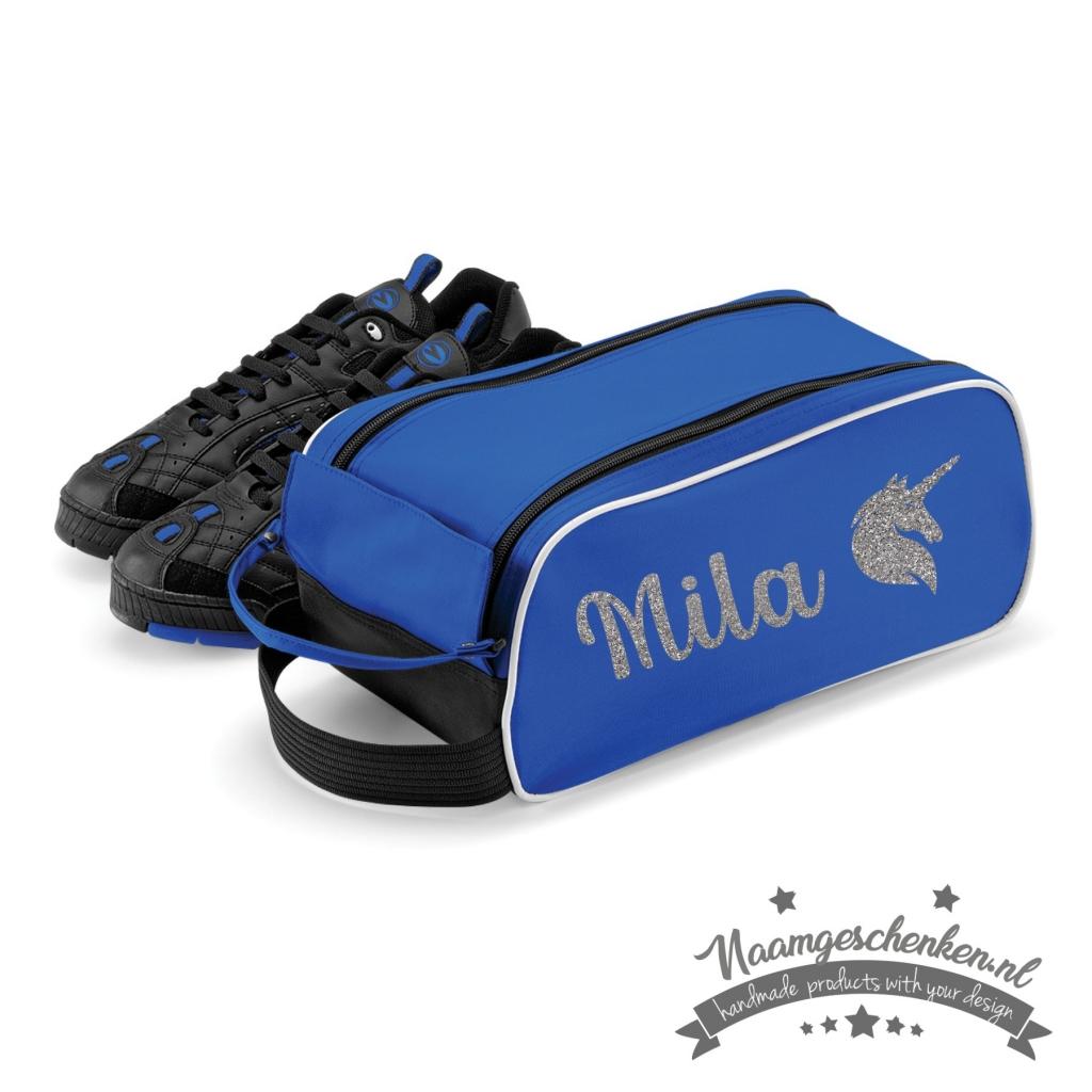schoenentas-blauw-glitter